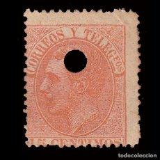 Sellos: TELÉGRAFOS.1882.15C. EDIFIL.210T.TALADRO .. Lote 245169620