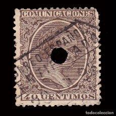 Sellos: TELÉGRAFOS.1889-99.40C.BLQ4.TALADRO-MATASELLO EDIFIL.223T.. Lote 245180215