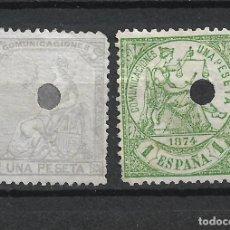 Sellos: ESPAÑA 1873-1874 EDIFIL 138T Y 150T USADO - 19/14. Lote 251613615