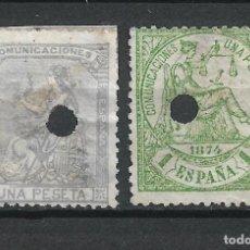 Sellos: ESPAÑA 1873-1874 EDIFIL 138T Y 150T USADO - 19/14. Lote 251613715
