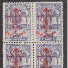 Sellos: BLOQUE DE 4 HOGAR TELEGRAFICO - AÑO DE LA VISTORIA - 1939. Lote 252956590