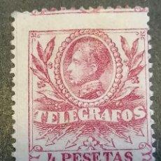 Selos: ESPAÑA TELEGRAFOS SELLOS 4 PESETAS ALFONSO XIII EDIFIL 45 NUEVO CHANELA MH*. Lote 262448110