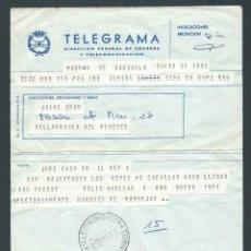 Sellos: ANTIGUO TELEGRAMA AÑO 1984 DE MARQUES DE MONDEJAR DESEANDO FELIZ NAVIDAD Y AÑO NUEVO DE EL REY. Lote 262449670