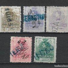 Sellos: ESPAÑA TELEGRAFOS 1912 EDFIL 47+49/52 USADO - 1/39. Lote 264073950
