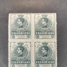 Sellos: ESPAÑA SELLOS TELÉGRAFOS EDIFIL 52 NUEVO PERFECTO BLOQUE CUATRO 60€ CATALOGO. Lote 264139275