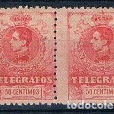 Sellos: ESPAÑA 1912 TELEGRAFOS 51 DOS SELLOS MNH** PEINE DESPLAZADO. Lote 266585713