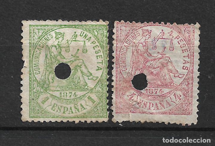 ESPAÑA 1874 EDIFIL 150T Y 151T USADO - 19/18 (Sellos - España - Telégrafos)