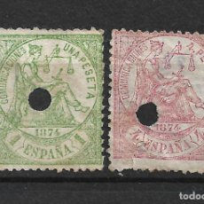 Sellos: ESPAÑA 1874 EDIFIL 150T Y 151T USADO - 19/18. Lote 271042448