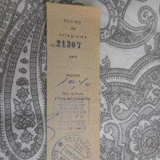 Selos: ANTIGUO RECIBO TELEGRAMA.TELEGRAFOS.BARCELONA.SUCURSAL ARCO.1969. Lote 279334413