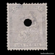 Sellos: TELÉGRAFOS.1873.ALEGORÍA ESPAÑA.1P TALADRO .EDIFIL.138 T. Lote 286851313