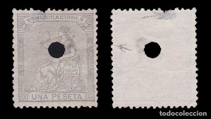 Sellos: Telégrafos.1873.Alegoría España.1p Taladro .Edifil.138 T - Foto 2 - 286851313