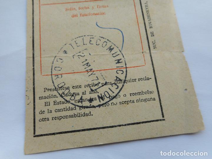 Sellos: ANTIGUO RECIBO GIRO TELEGRAFICO.TELECOMUNICACION CORDOBA 1971 - Foto 2 - 287582548
