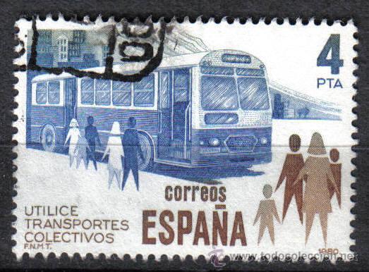 AUTOBUS. ESPAÑA 1980 4 P EDIFIL 2561. (Sellos - Temáticas - Otros Transportes)