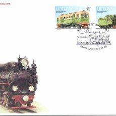 Sellos: LITUANIA 2002. SOBRE PRIMER DIA. MONUMENTOS TECNICOS. LOCOMOTORAS. Lote 27101076
