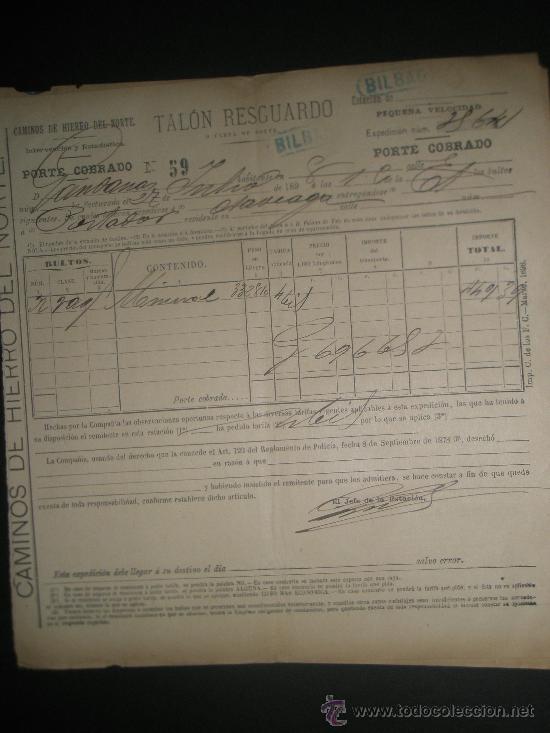 CARTA DE PORTE DE LOS CAMINOS DE HIERRO DEL NORTE 1898 CON MATASELLO LINEAL (Filatelia - Sellos - Temáticas - Otros Transportes)
