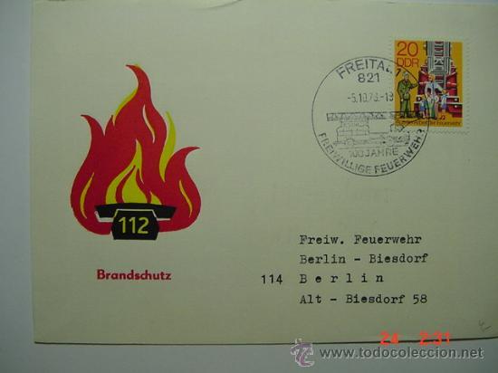9866 BOMBEROS ALEMANIA SOBRE PRIMER DIA FDC SPD AÑO 1979 - MAS DE ESTE TEMA EN MI TIENDA C&C (Sellos - Temáticas - Otros Transportes)