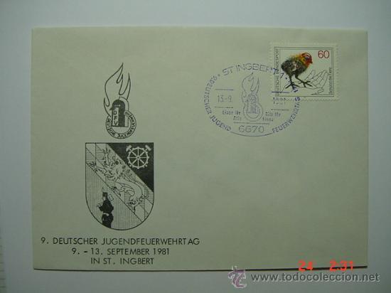 9871 BOMBEROS ALEMANIA SOBRE PRIMER DIA FDC SPD AÑO 1981 - MAS DE ESTE TEMA EN MI TIENDA C&C (Sellos - Temáticas - Otros Transportes)