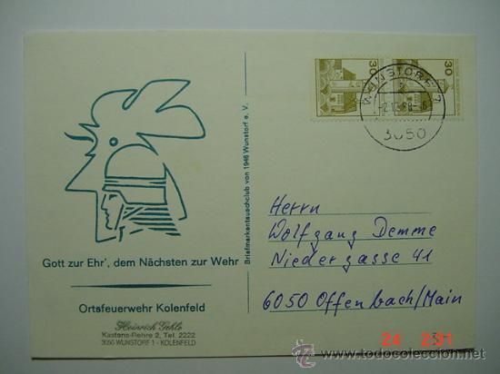 9867 BOMBEROS ALEMANIA TARJETA AÑO 1988 - MAS DE ESTE TEMA EN MI TIENDA C&C (Sellos - Temáticas - Otros Transportes)