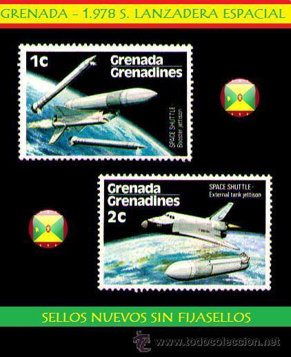 SELLOS ESPACIO - GRENADA 1.978 S. LANZADERA ESPACIAL VAL 1C Y 2C (AHORRA GASTOS COMPRANDO MAS SELLO) (Sellos - Temáticas - Otros Transportes)