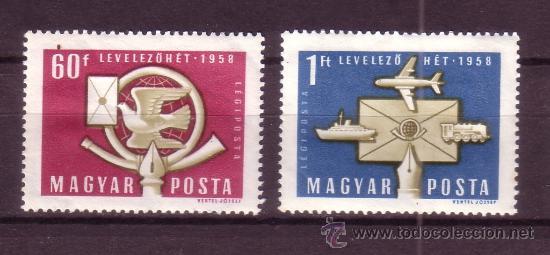 HUNGRÍA AÉREO 209/10* - AÑO 1958 - SEMANA INTERNACIONAL DE LA CARTA ESCRITA (Sellos - Temáticas - Otros Transportes)