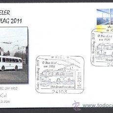 Sellos: ALEMANIA 2011. MATASELLO ESPECIAL. AUTOBUS ELECTRICO DE 1950 EN KIEL. ALEMANIA. Lote 25004247