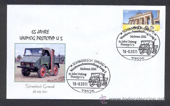 ALEMANIA 2011. MATASELLO ESPECIAL TRANSPORTES. CAMIONES. UNIMOG PROTOTIPO U 5 (Sellos - Temáticas - Otros Transportes)