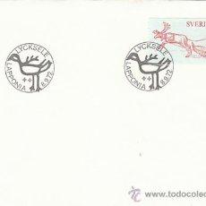 Sellos: SUECIA IVERT 739, TRINEO TIRADO POR RENO, PRIMER DIA DE 8-9-1972. Lote 30926466