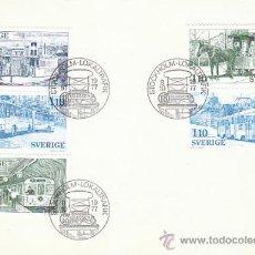 Timbres: SUECIA IVERT 830/4, TRAFICO URBANO SUECO (METRO, AUTOBUS, BARCO...), PRIMER DIA DE 8-10-1977. Lote 30926508