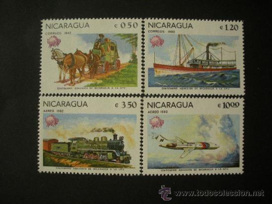 NICARAGUA 1982 IVERT 1193/4 Y AEREO 984/5 *** CENTENARIO ADHESIÓN NICARAGUA A LA UPU. - TRANSPORTES (Sellos - Temáticas - Otros Transportes)
