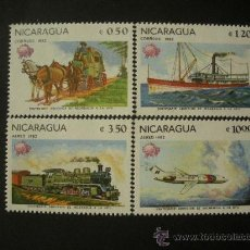 Sellos: NICARAGUA 1982 IVERT 1193/4 Y AEREO 984/5 *** CENTENARIO ADHESIÓN NICARAGUA A LA UPU. - TRANSPORTES. Lote 31073739