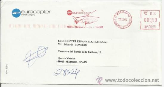 A123 A-CARTA CORREO AEREO POR COMPAÑIA HELICOPTERO FRANCIA ESPAÑA MADRID.. LETTER MAIL HELICOPTER S (Sellos - Temáticas - Otros Transportes)