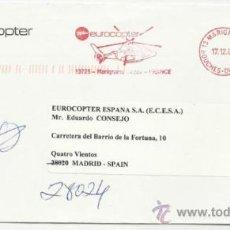 Sellos: A123 A-CARTA CORREO AEREO POR COMPAÑIA HELICOPTERO FRANCIA ESPAÑA MADRID.. LETTER MAIL HELICOPTER S. Lote 34023896