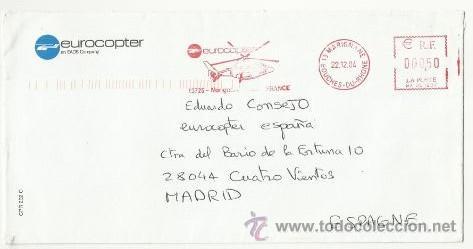 A123 B-CARTA CORREO AEREO POR COMPAÑIA HELICOPTERO FRANCIA ESPAÑA MADRID.. LETTER MAIL HELICOPTER S (Sellos - Temáticas - Otros Transportes)