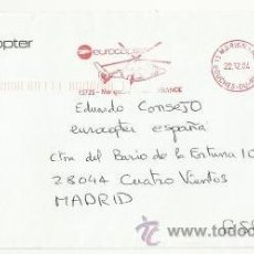 Sellos: A123 B-CARTA CORREO AEREO POR COMPAÑIA HELICOPTERO FRANCIA ESPAÑA MADRID.. LETTER MAIL HELICOPTER S. Lote 34023915