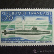 Sellos: FRANCIA ,Nº YVERT 1615***AÑO 1969. SUBMARINO NUCLEAR LE REDOUTABLE. Lote 150304436