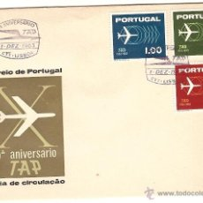 Sellos: PORTUGAL FDC LISBOA & 10º ANIVERSÁRIO DA TAP 1963 (922). Lote 40017556