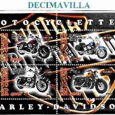 Sellos: TRANSPORTES, MOTOS, HARLEY DAVIDSON, CONGO, 2013, L395, HOJA-BLOQUE USADA. Lote 206821076
