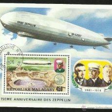 Briefmarken - MADAGASCAR 1976 HOJA BLOQUE DE SELLOS CONMEMORATIVO DEL 75 ANIVERSARIO ZEPPELIN- DIRIGIBLE- AEREO - 42403196