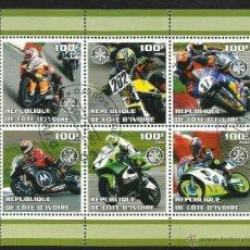 Sellos: COSTA DE MARFIL 2002 HOJA BLOQUE CARRERA MOTOS- MOTO GP- ROTARY INTERNACIONAL. Lote 42546497