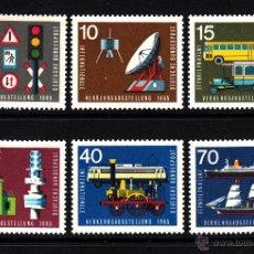 Sellos: ALEMANIA 340/45** - AÑO 1965 - EXPOSICIÓN INTERNACIONAL DEL TRANSPORTE - TRENES - BARCOS - COCHES. Lote 133353585