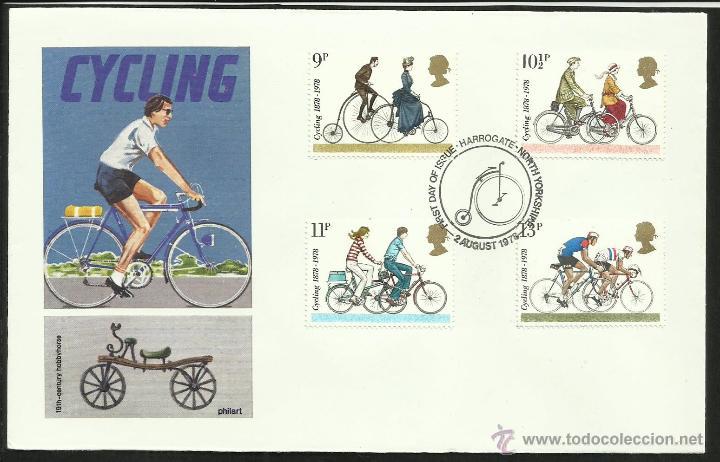 GRAN BRETAÑA 1978 SOBRE PRIMER DÍA DE CIRCULACIÓN TEMÁTICA TRANSPORTE BICICLETA- CICLISMO (Sellos - Temáticas - Otros Transportes)