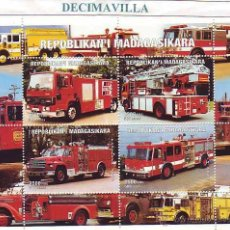 Sellos: MADAGASCAR, CAMIONES DE BOMBEROS, 1999, TRVA071. Lote 48576123