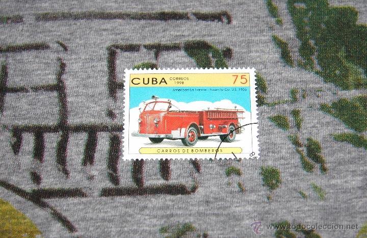 SELLOS DE COCHES DE BOMBEROS - AMERICAN-LA FRANCE - FOAMITE CO. U.S. (1956) - CUBA 1998 - NUEVO (Sellos - Temáticas - Otros Transportes)