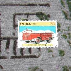 Sellos: SELLOS DE COCHES DE BOMBEROS - AMERICAN-LA FRANCE - FOAMITE CO. U.S. (1956) - CUBA 1998. Lote 50422604