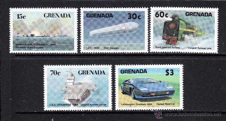GRANADA 1414/18** - AÑO 1987 - HISTORIA DEL TRANSPORTE - AVIONES - BARCOS - TRENES - AUTOMOVILES (Sellos - Temáticas - Otros Transportes)
