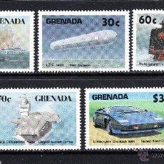 Sellos: GRANADA 1414/18** - AÑO 1987 - HISTORIA DEL TRANSPORTE - AVIONES - BARCOS - TRENES - AUTOMOVILES. Lote 54734558