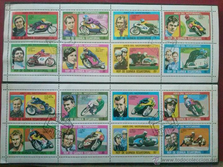 GUINEA ECUATORIAL , 1976 , ASES DEL MOTORISMO MOTOCICLISMO MOTOS , 2 HB DIFERENTES (Sellos - Temáticas - Otros Transportes)