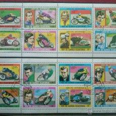 Sellos: GUINEA ECUATORIAL , 1976 , ASES DEL MOTORISMO MOTOCICLISMO MOTOS , 2 HB DIFERENTES. Lote 148906176