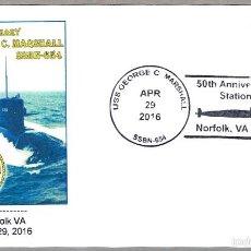 Sellos: 50 AÑOS SUBMARINO NUCLEAR USS GEORGE C. MARSHALL SSBN-654. NORFOLK VA 2016. Lote 57490558