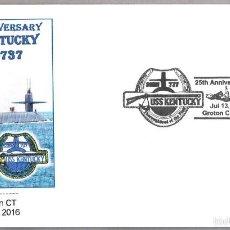 Sellos: MATASELLOS 25 AÑOS SUBMARINO NUCLEAR USS KENTUCKY SSBN-737. GROTON 2016. Lote 58632938